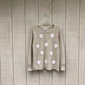 LC Lauren Conrad wheat lace heart cozy sweater, L